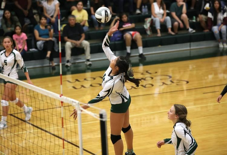 Flagstaff's Gracelyn Nez attacks the Marcos de Niza defense Tuesday night during a home match