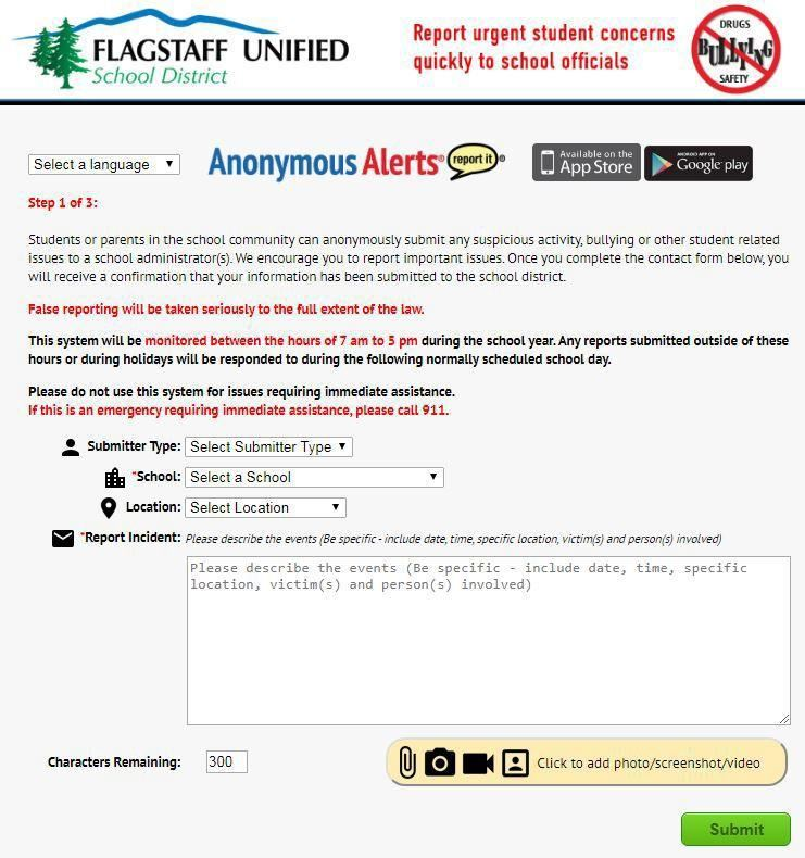 Anonymous alerts submission page