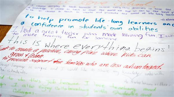 'This is where everything begins' written on large piece of paper with various learning ideas.