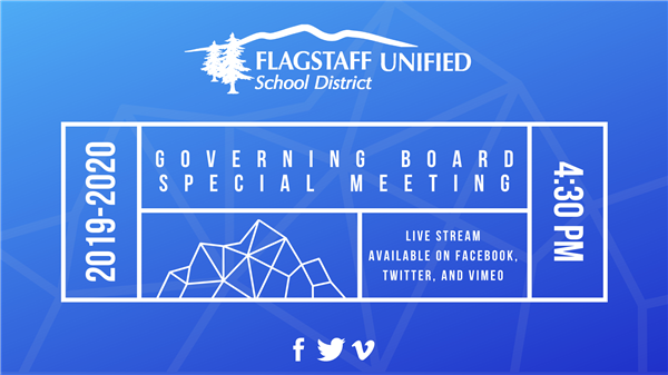 Governing Board Special Meeting 4:30 p.m. - Live stream available on Facebook, Twitter, and Vimeo