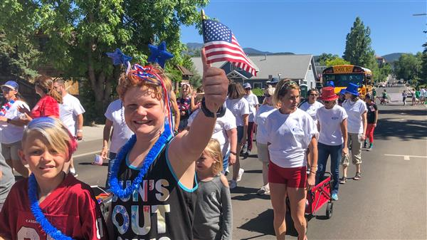 Students, staff, and families walk with FUSD in the 4th of July Parade.