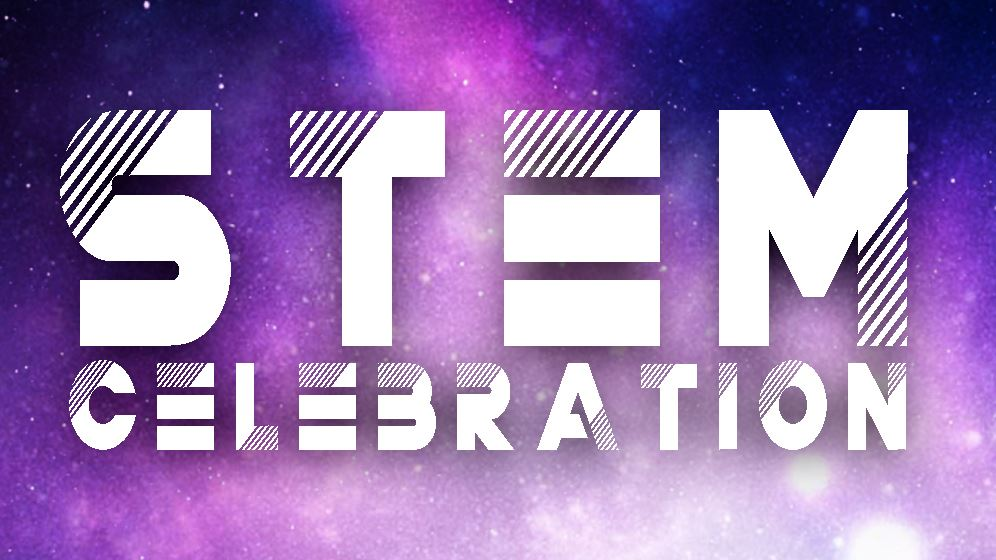 STEM Celebration logo on a cosmic star background.