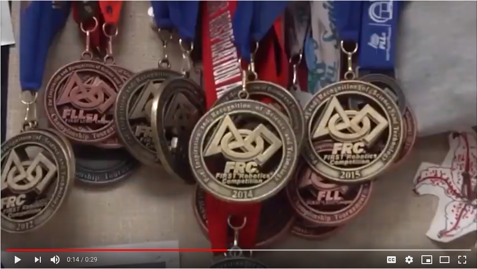 Medals earned by the CocoNut robotics team.