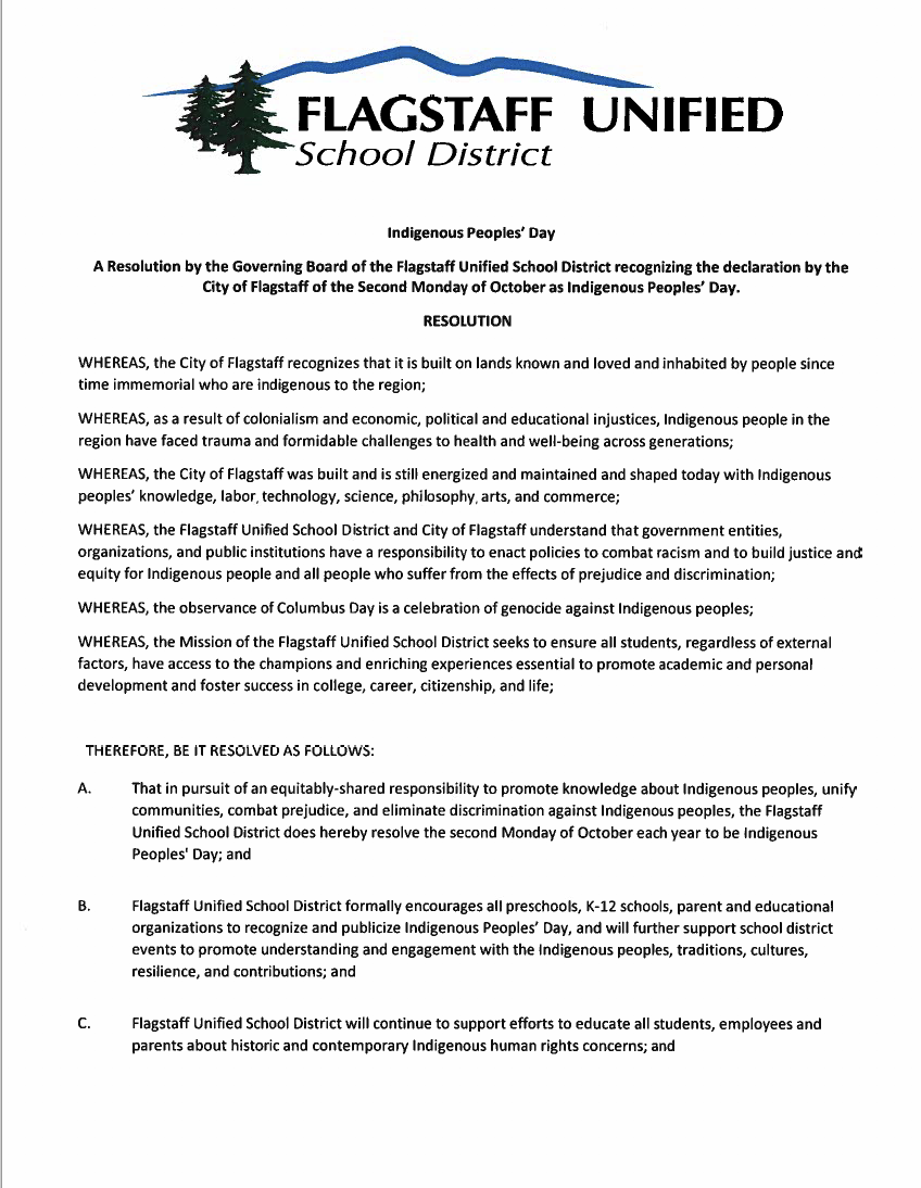 Screenshot of the FUSD Indigenous People's Day resolution.