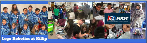 Pictures of Killip Lego Robotics Team with robot and practicing core values