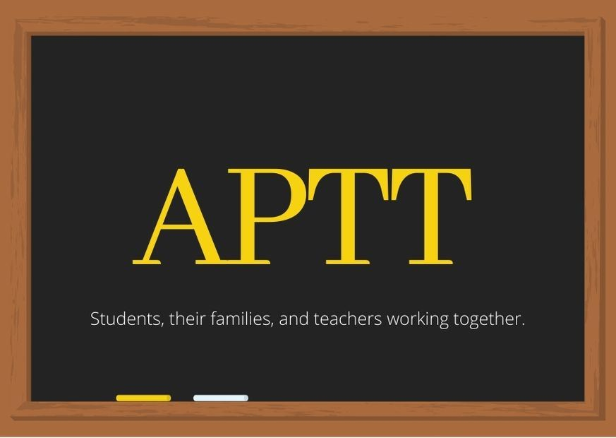 chalkboard image with APTT in large print, students, their families, and teachers working together