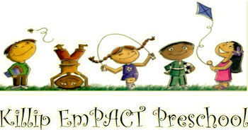 The words Killip EmPact Preschool over clipart of young children playing