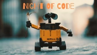 Picture of Wall-e the robot with the words Night of Code