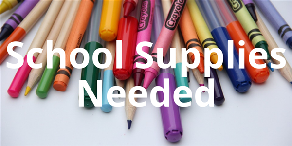 School Supplies Needed with crayons and markers in the background