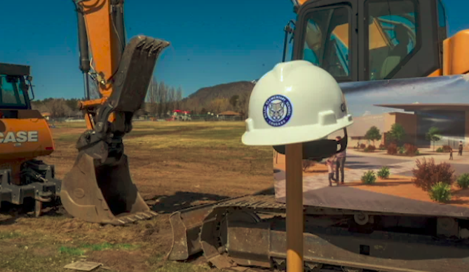shovel and hardhat at the Killip construction site