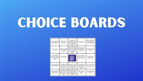Choice Boards with a picture of a choice board