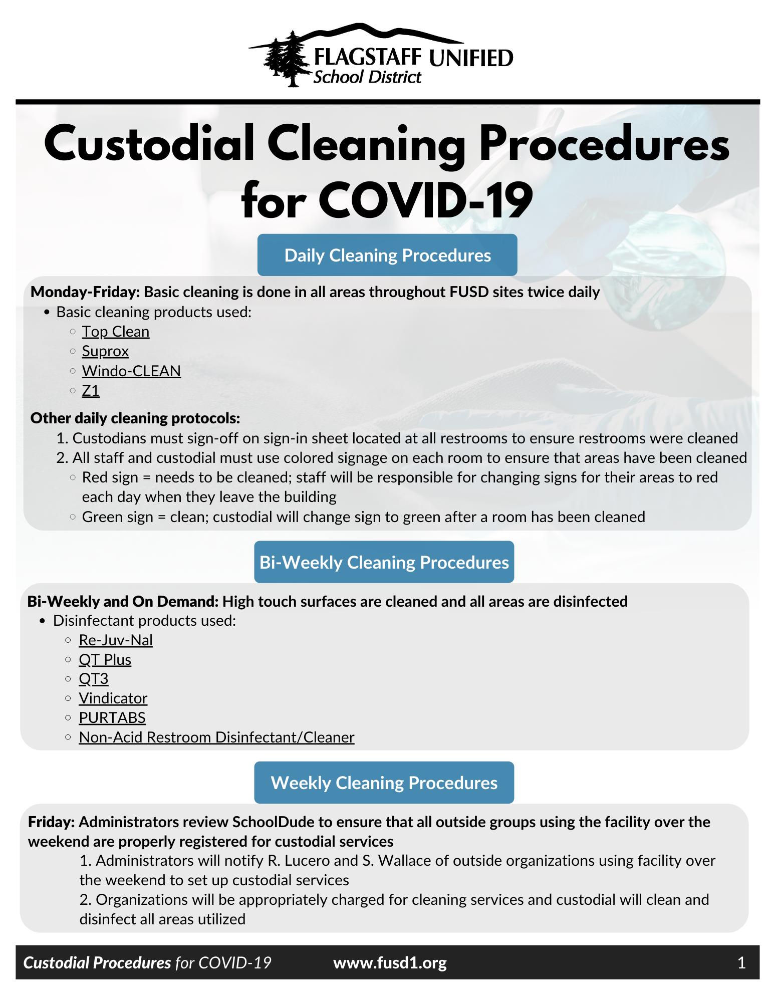 Custodial Cleaning Procedures