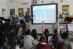 Students with questions for the experts from the National Weather Service