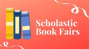 """Scholastic Book Fairs"" with books on the left and a red background"