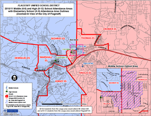 Boundary map for the Flagstaff Unified School District.