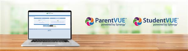 Computer on a desk with the ParentVUE and StudentVUE logo.