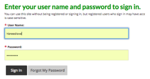 Enter name and password