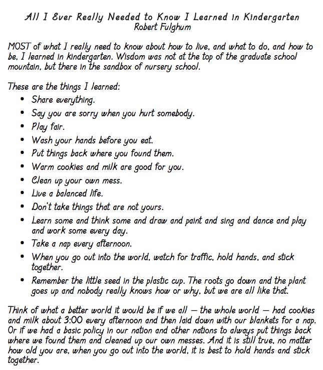 Kindergarten poem