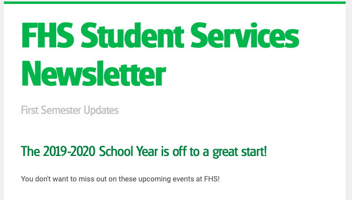 FHS Student Services Newsletter