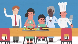 animated food service workers